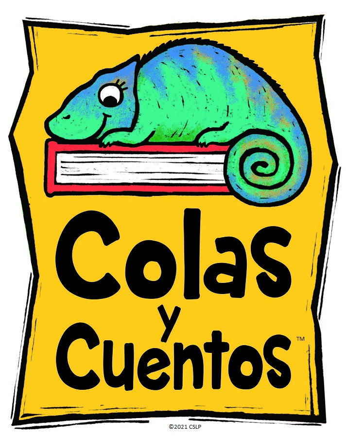 """A blue-green chameleon sitting on a red book, all on a yellow background, above the text """"Colas Y Cuentos"""", Spanish for """"Tails and Tales"""""""