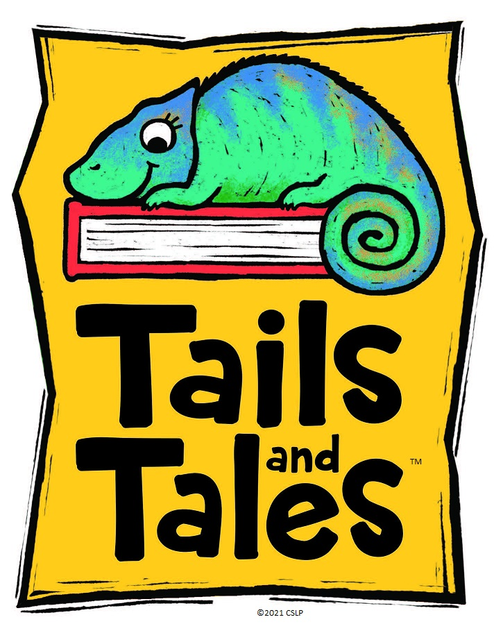 """A blue-green chameleon sitting on a red book, all on a yellow background, above the text """"Tails and Tales"""""""