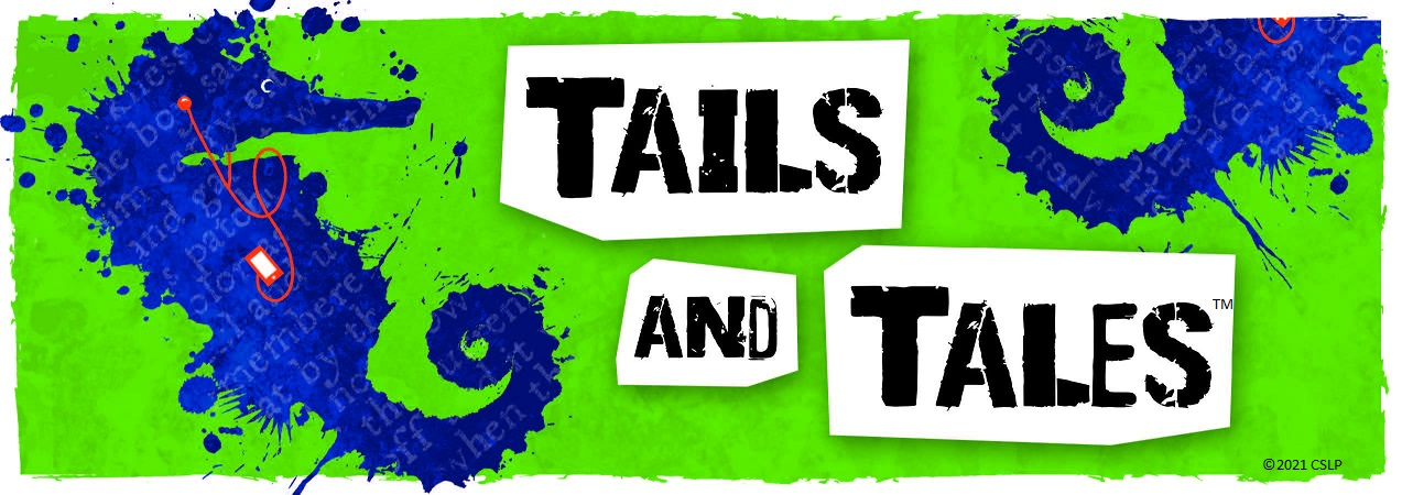 """A lime green background with a dark blue, seahorse that looks like it was made of paint splatters.  The seahorse is listening to a portable music device with earbud headphones.  Black text on white blocks reads """"Tails and Tales"""""""